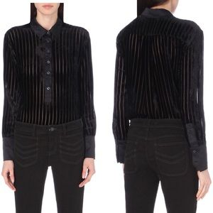 Free People Get It On Velvet Striped Shirt